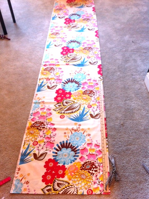 """First you'll need your main (outer) fabric.  There is no rule what kind of fabric you need - I love using quilting cotton because it's so soft and hangs beautifully.  The downside is that it's only 44"""" wide - but that's never worried me.  Measure how long your finished curtain will be.  Then add only about 2 - 4""""."""