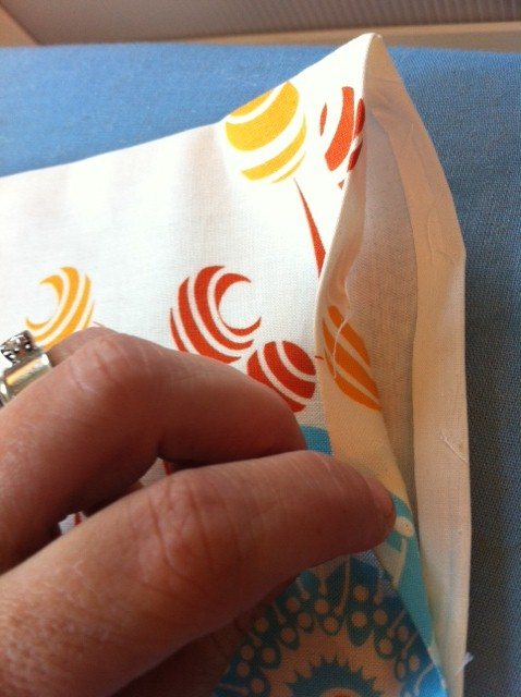 Now, hem the casing edges by pressing them inside and sewing a straight stitch.