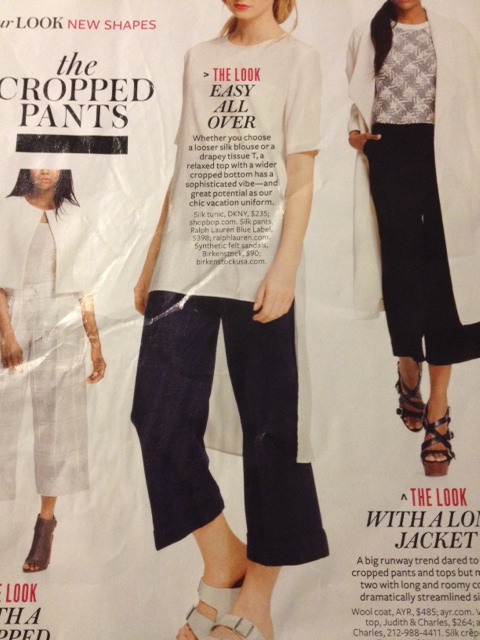 I love the long boxy top and the simple go-with-anything cropped pants. Can we make this for cheap but still look expensive??? Insert Jeopardy theme music...